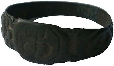 ANTIQUE Ring with INITIAL Bronze MEDIEVAL Period MIDDLE Age OLD Europe UKRAINE R