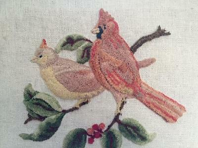 "Textile Art of 2 Cardinals on Branch Burlap background Framed 17"" x 13"""