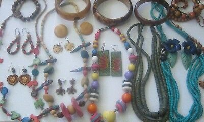 Vtg Jewelry Tropical Wooden Carved Necklaces Earrings Bangle Bracelets Lot 20