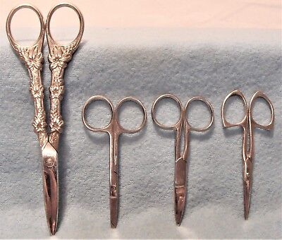 LOT 4 PAIR ANTIQUE SEWING SCISSORS w SILVER PLATE HANDLE SCISSORS,3 SMALL PAIRS