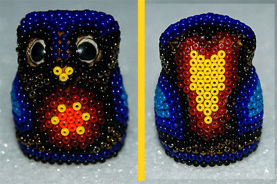 HUICHOL INDIAN ART - Glass Beaded SHAPED OWL THIMBLE #04  NEW JALISCO, MEXICO