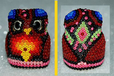 HUICHOL INDIAN ART - Glass Beaded SHAPED OWL THIMBLE #09  NEW JALISCO, MEXICO