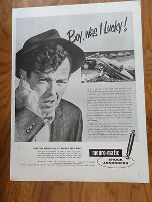 1959 Monro-matic Shocks Absorbers Ad  Automobile  Accident
