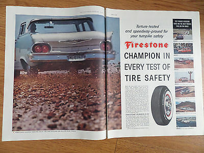 1960 Firestone Tire Ad Torture-Tested & Speedway Proved for Turnpike Safety