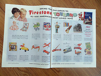 1955 Firestone Ad  Bring the Children to Toyland Christmas Toys