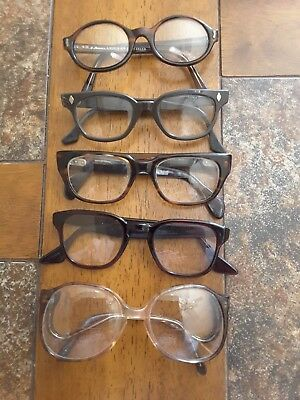 Vintage Lot of 5 Thick Plastic Horn Rim Eyeglasses Safety Frames