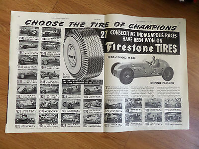 1950 Firestone Tire Ad Indy Indianapolis 500 Winners 1911 - 1950 Johnnie Parsons