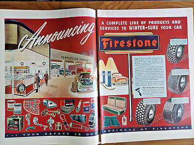 1951 Firestone Tire Ad Complete Car Service Center Products
