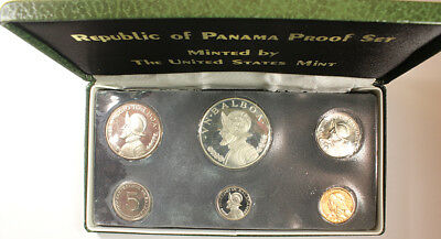1973 PANAMA - OFFICIAL PROOF SET (6) w/ SILVER BALBOA CROWN ISSUED BY U.S. MINT