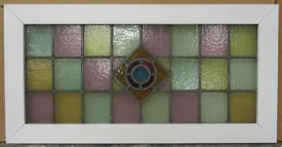 "OLD ENGLISH LEADED STAINED GLASS WINDOW TRANSOM Colorful Diamond 34.75"" x 17.5"""