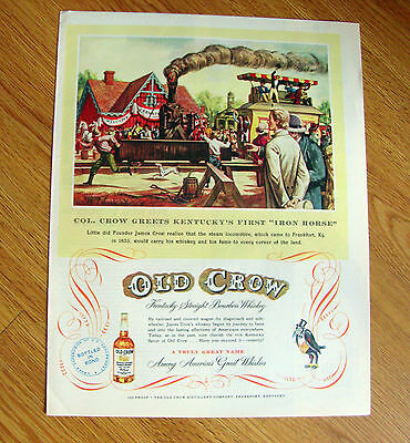 1951 Old Crow Whiskey Ad Iron Horse Steam Locomotive