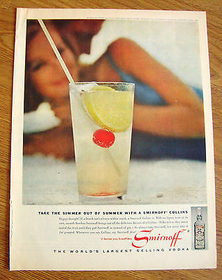 1962 Smirnoff Vodka Ad Take the Simmer out of Summer with a Smirnoff Collins