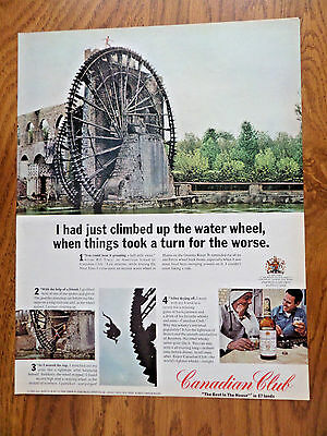1967 Canadian Club Whiskey Ad Ancient Water Wheel at Hama on Orontes River