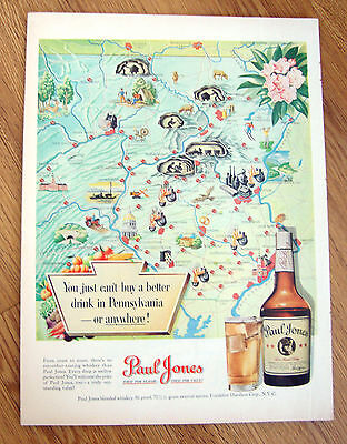 1950 Paul Jones Whiskey Ad Map of the State of Pennsylvania