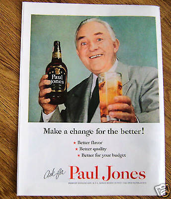 1954 Paul Jones Whiskey Ad - Make a Change for Better