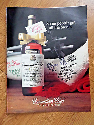 1983 Canadian Club Whiskey Ad Skiing Theme