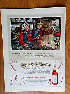 1957 Old Crow Whiskey Ad  Famous Adventurere World Traveler Author Jack London