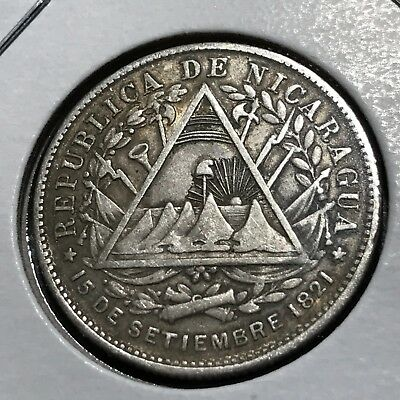 Nicaragua 1887-H Silver 20 Cents 1 Year Type Coin Scarce