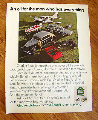 1970 Quaker State Oil Ad An Oil for the Man who has Everything