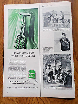 1953 Quaker State Motor Oil Ad  Engine Value Moves Up & Down 928 Times a Minute