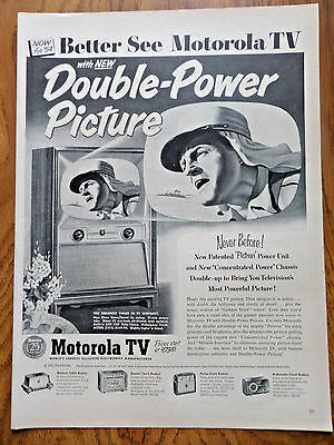 1953 Motorola TV Television Ad New Double-Power Picture