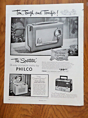 1955 Philco Portable Radios Ad The Sportster 1st Mate & Overnighter