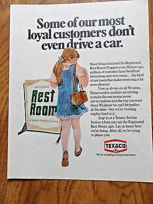 1972 Texaco Oil Gas Ad    Registered Rest Rooms