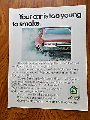1968 Quaker State Oil Ad Your Car is too young to Smoke