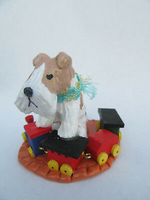"HAND SCULPTED ART~~WIRE FOX Terrier ""PLAYING WITH A WOODEN TRAIN"" ~~~SALE!!!~~~~"