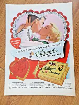 1954 Whitman's Sampler Candy Ad It's Valentine's  Day Sunday Feb 14