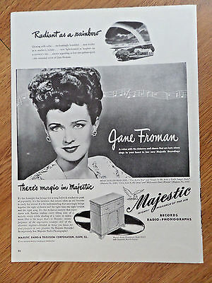 1946 Majestic Radio Phonograph Ad Jane Froman