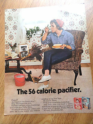 1969 Quaker Puffed Wheat Cereal Ad  The 56 Calorie Pacifier Pooped ? Housewife