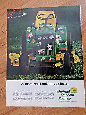 1969 John Deere Lawn Tractor Ad 21 More Weekends to go Places