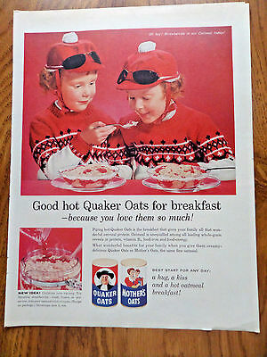 1960 Quaker Oats Cereal Ad Twin Girls
