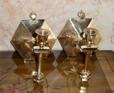 Elegant Pair of Brass Wall Sconce Candle Holders