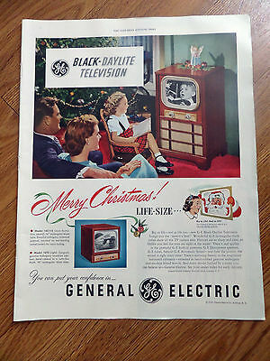 1950 GE General Electric TV Television Ad Black-Daylite  Merry Christmas