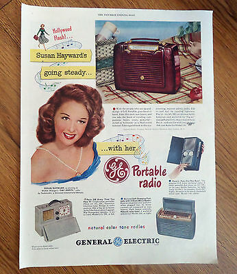 1948 GE General Electric Portable Radios Ad Hollywood Movie Star Susan Hayward
