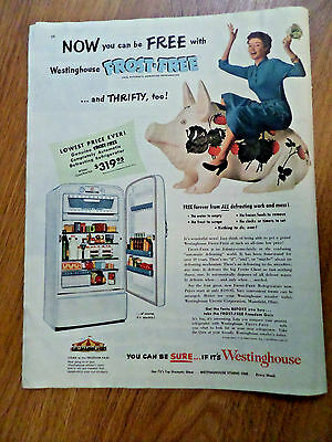 1952 Westinghouse Refrigerator Ad  Frost-Free   Thrifty Piggy Bank Theme