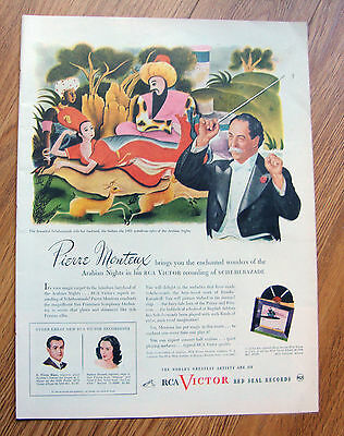 1945 RCA Victor Red Seal Records Ad Conductor Pierre Monteux  Arabian Nights