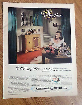 1947 GE General Electric RadiosPhonographs Ad  Musaphonic