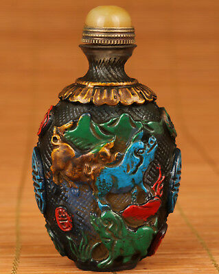 Fine Rare Chinese Old coloured glaze Handmade Carved 3 pig Statue Snuff Bottle