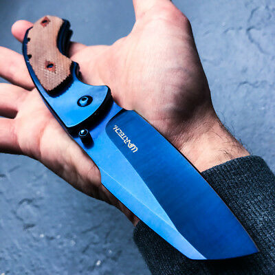 TACTICAL Spring Assisted Open Pocket Knife CLEAVER RAZOR FOLDING Blade Blue