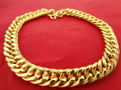 "18k Yellow Gold Filled Twisted Flexible Bracelet Bangle Chain Jewelry  8"" Long"