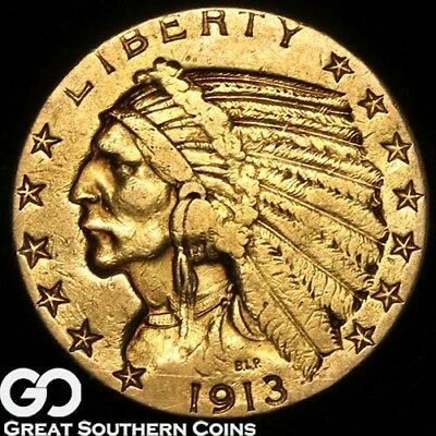 1913-S Half Eagle, $5 Gold Indian ** Free Shipping!