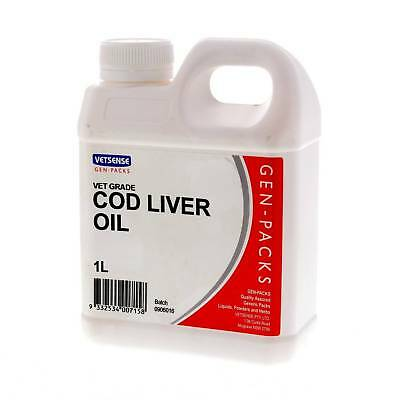 Cod Liver Oil 1L Horse Equine Supplement Health Vetsense Gen-Pack Value