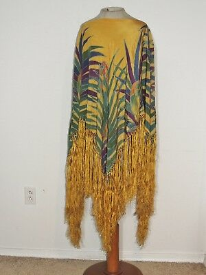 Vintage 1930's Hand Painted Piano Shawl / Made to Poncho - Shawl - Fits All