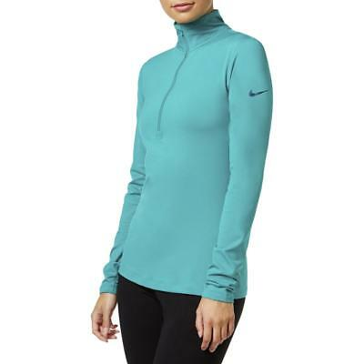Nike 7376 Womens Green 1/2 Zip Workout Pullover Top Athletic M BHFO