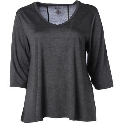 The Balance Collection 3177 Womens Black Yoga T-Shirt Athletic Plus 3X BHFO