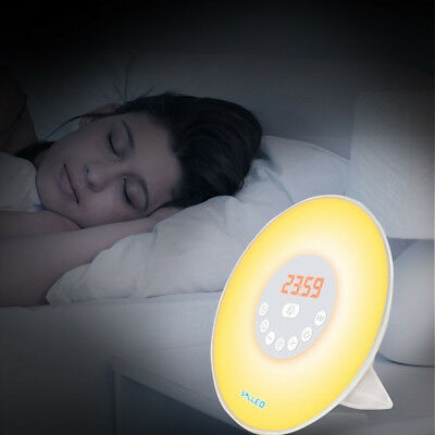 LED Wake-up Light Adjustable Lamp Sunrise Simulation Alarm Clock+FM Radio Safe