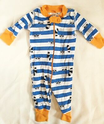 HANNA ANDERSSON Baby Organic Cotton Zip Sleeper Blue Striped RACCOON 50 0-6m
